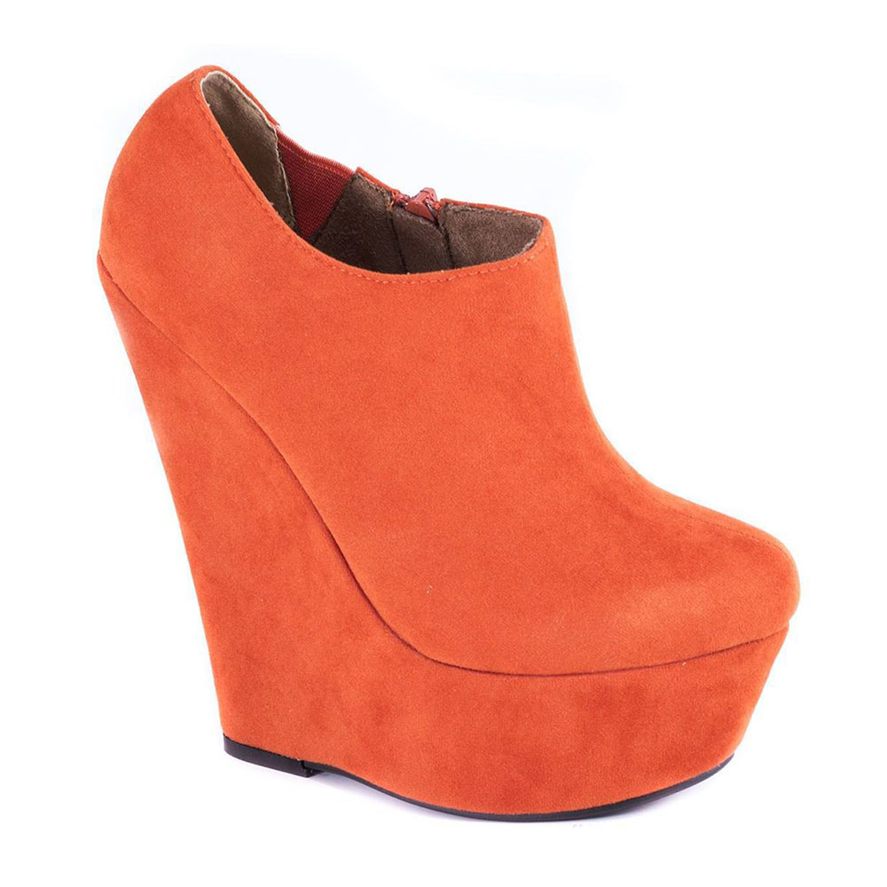 Botine orange cu platforma AB734Orange Suede