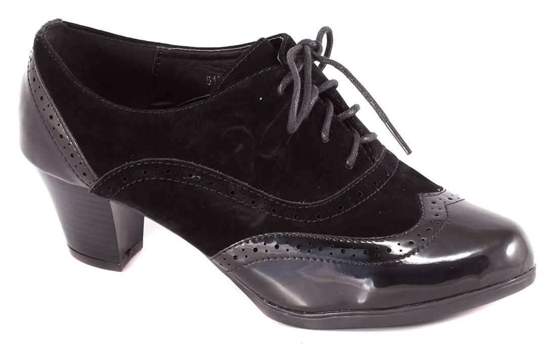 Pantofi negri cu siret 51731N