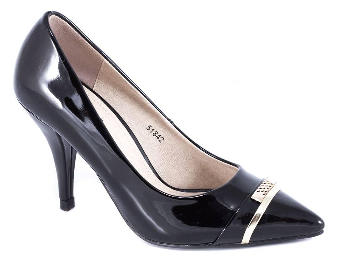 Pantofi negri cu toc 51842N