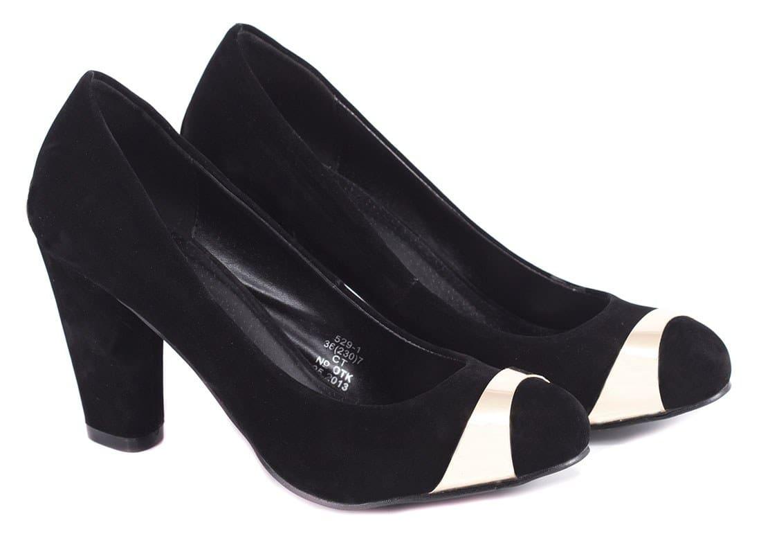 Pantofi negri cu accesoriu auriu 529-1N