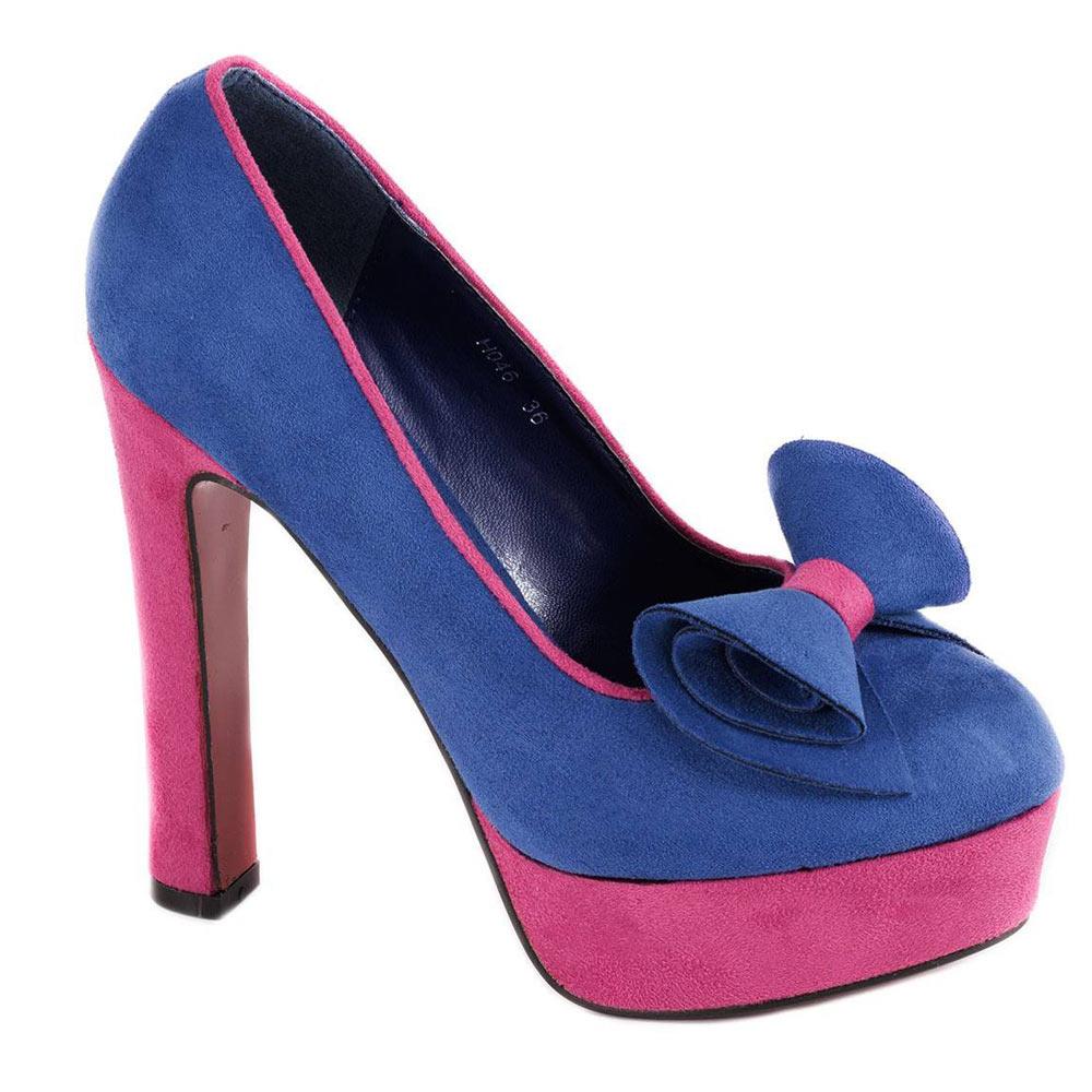 Pantofi albastri cu platforma H046A