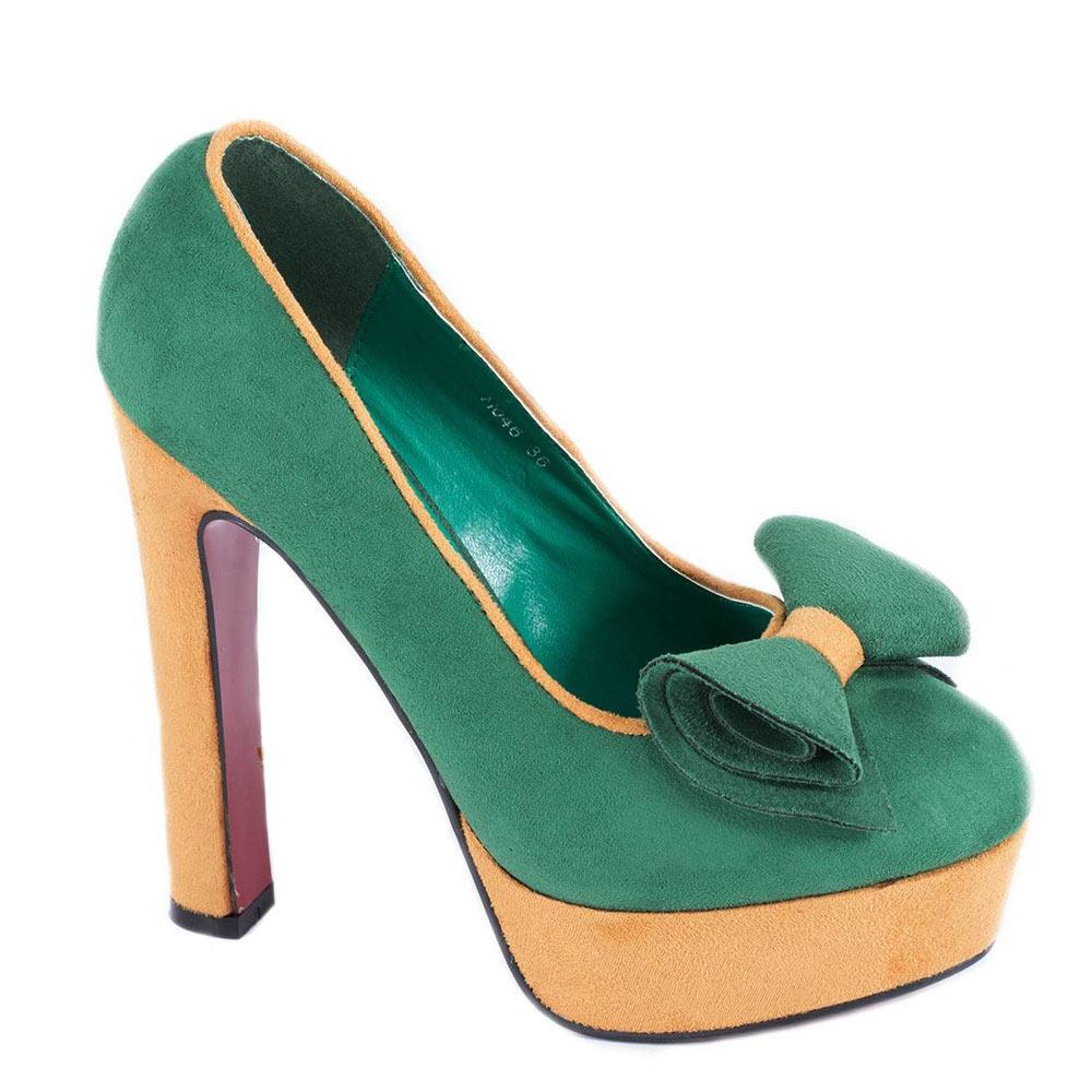 Pantofi verzi cu platforma H046V