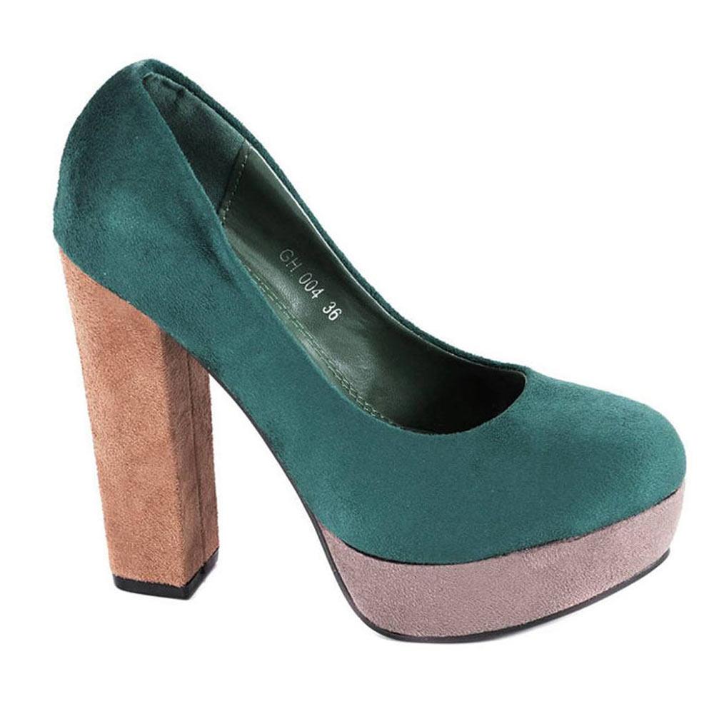 Pantofi verzi cu platforma GH004V