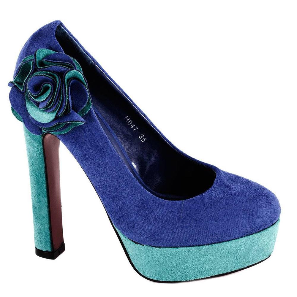 Pantofi albastri cu platforma H047A