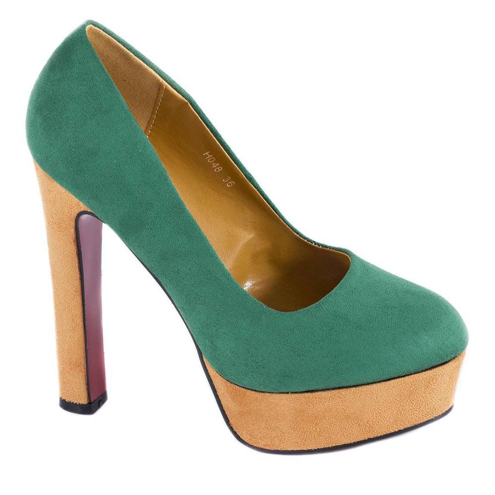 Pantofi verzi cu platforma H048V