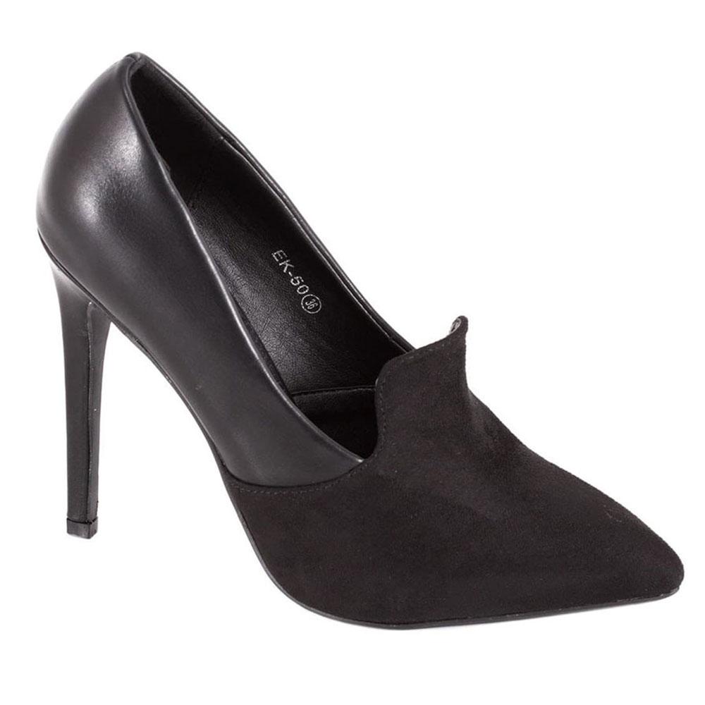 Pantofi Stiletto negri cu toc EK-50N