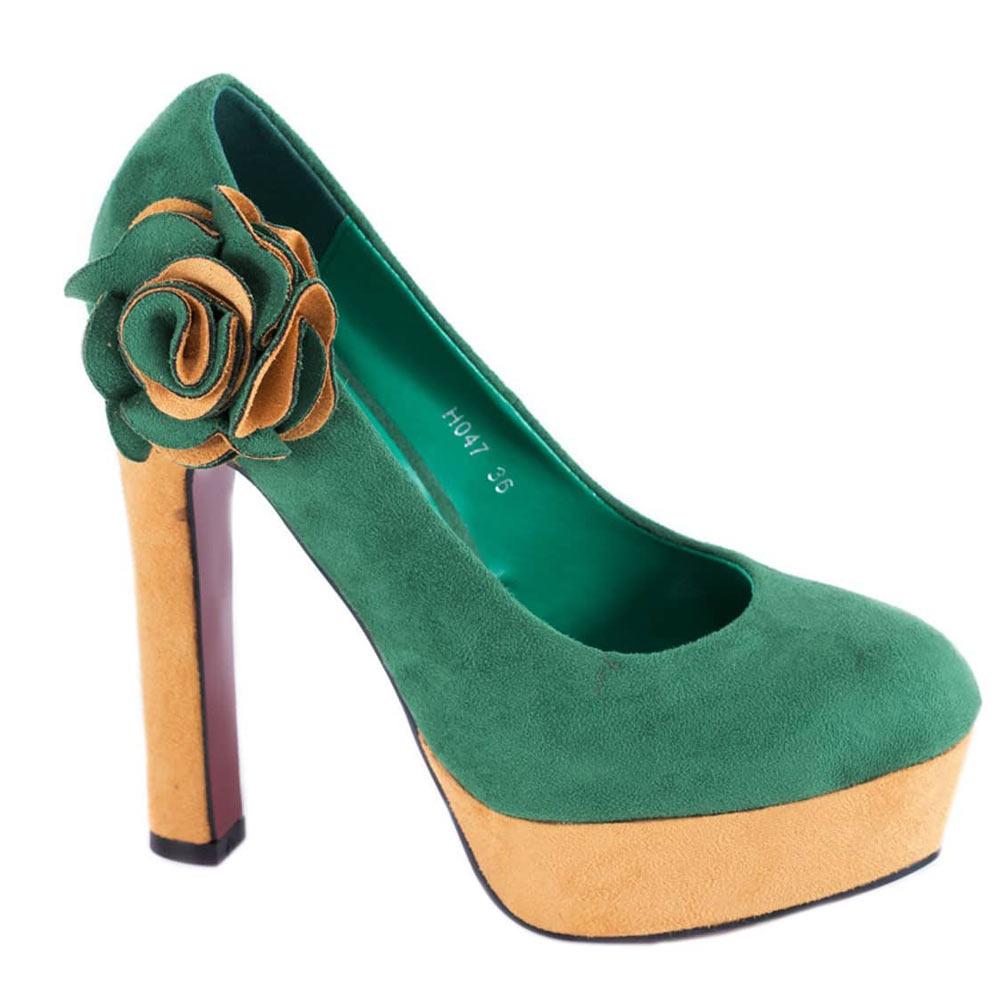 Pantofi verzi cu platforma H047V