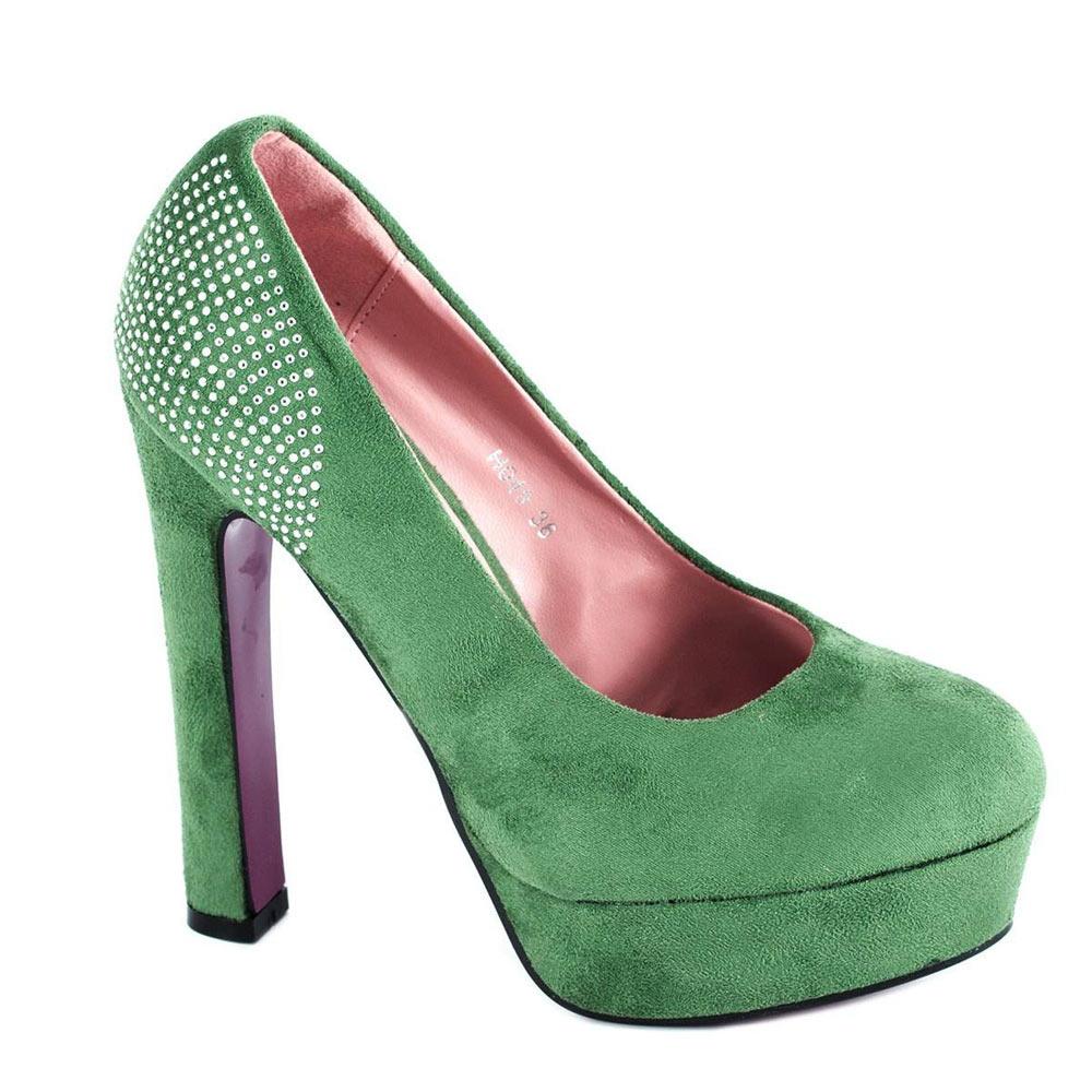 Pantofi verzi cu platforma H049V