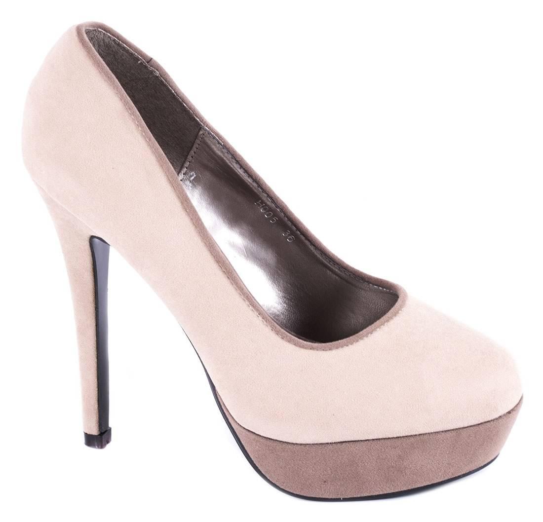Pantofi bej cu platforma H005B