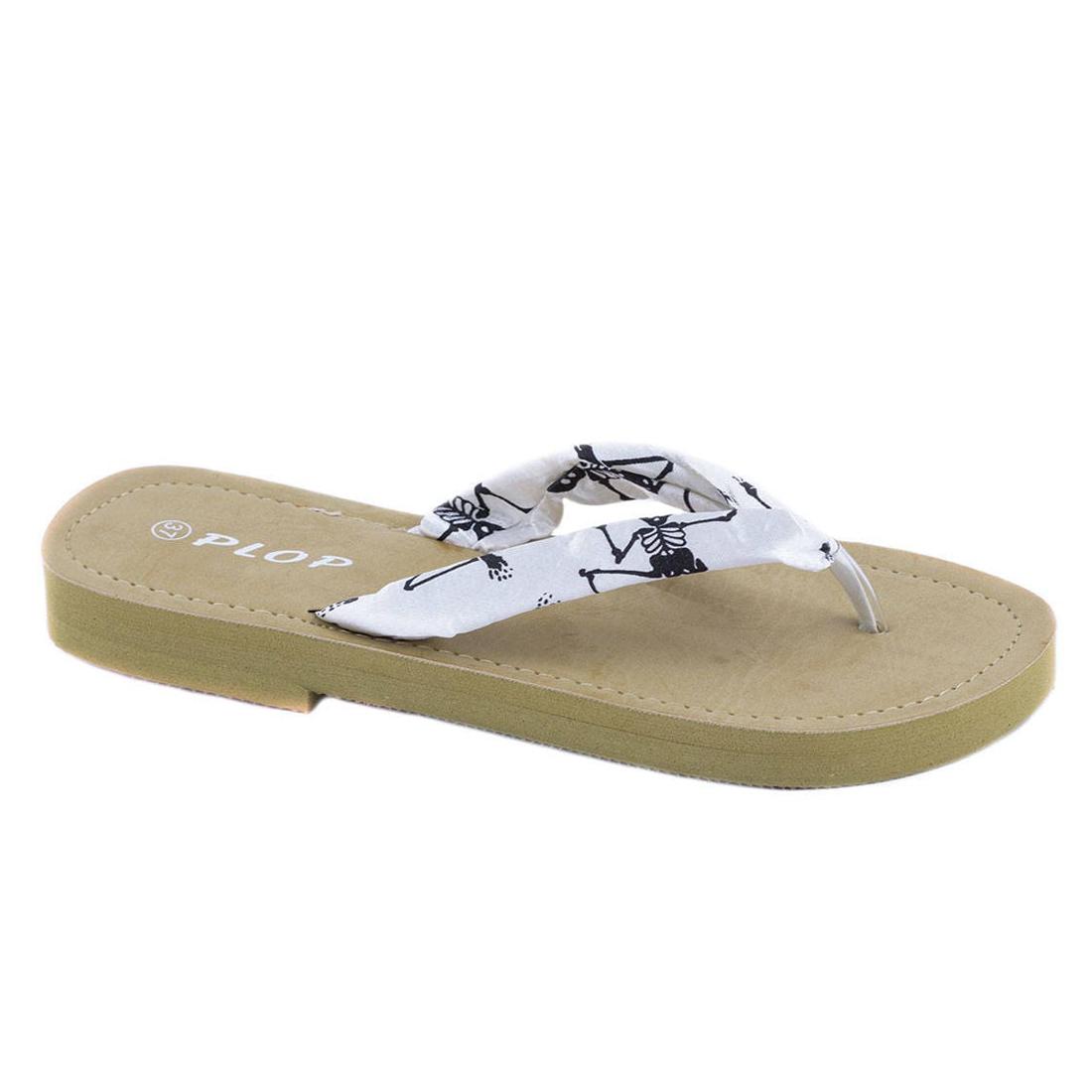 Papuci albi de dama YD1748A
