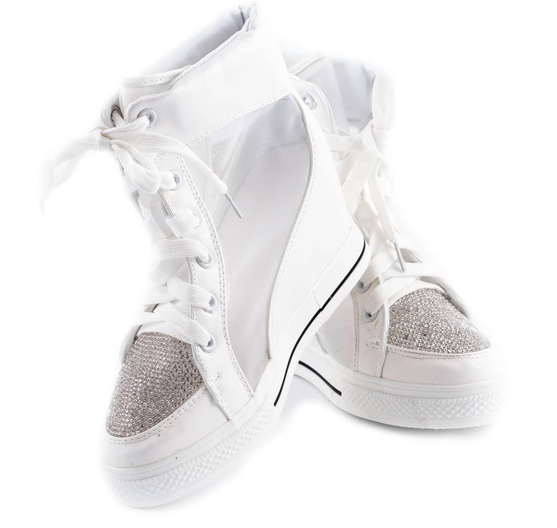 Sneakers albi de dama cu siret 028-6A