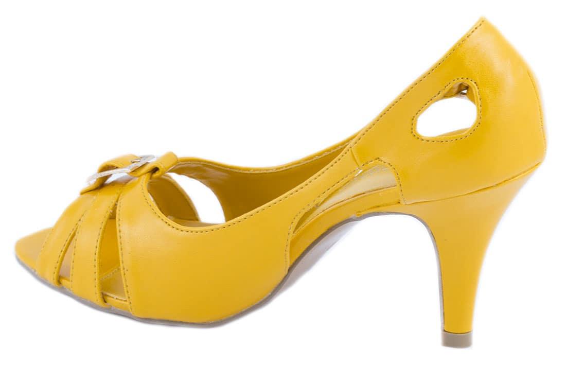 Pantofi galbeni cu toc 24459G