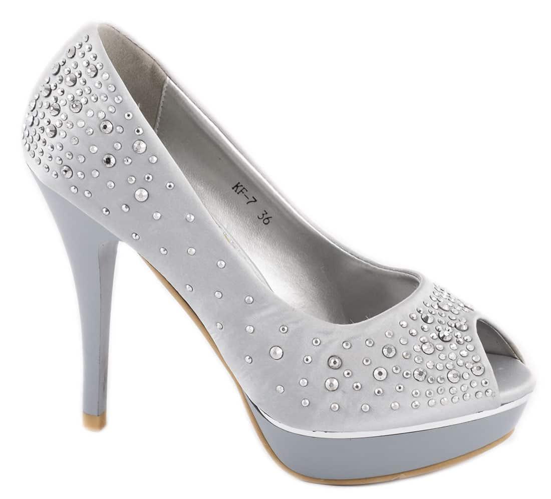 Pantofi de dama silver cu platforma KF-7S