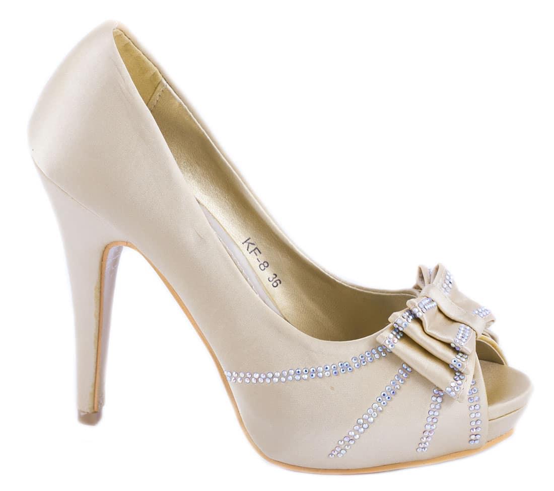 Pantofi dama gold cu fundita KF-8G
