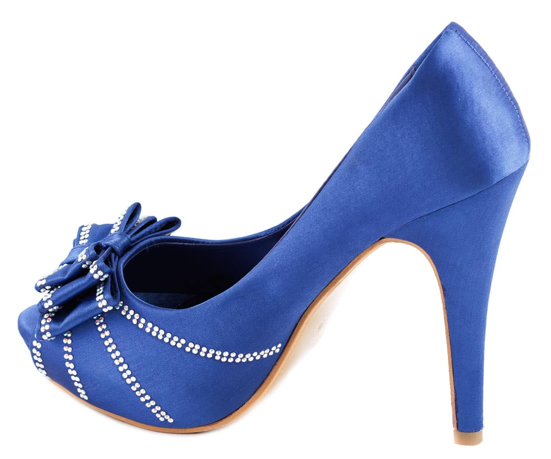 Pantofi dama albastri cu fundita KF-8A