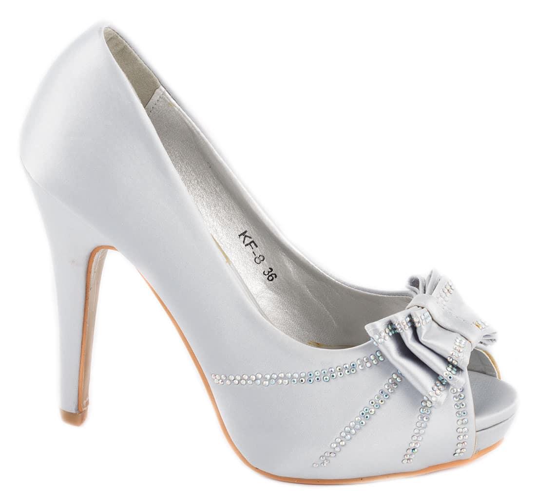 Pantofi dama silver cu fundita KF-8S