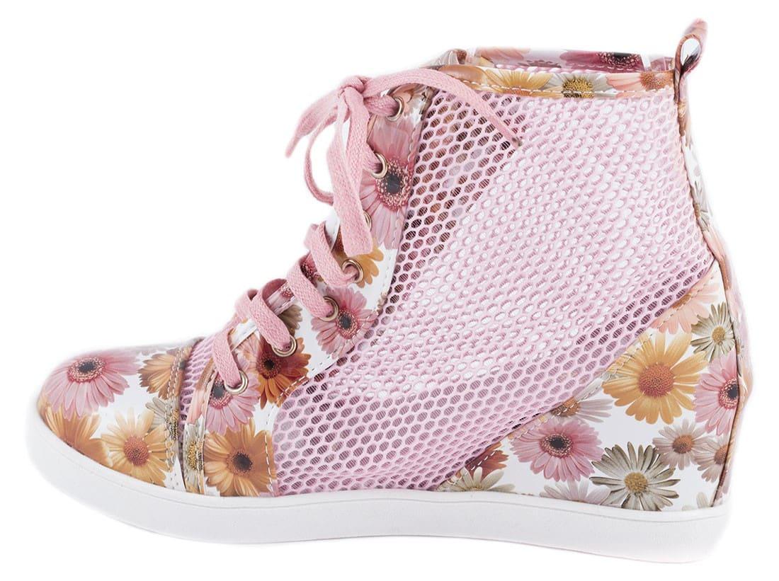 Sneakers de dama cu siret 90037-1ROZ