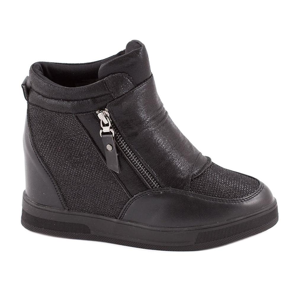 Sneakers de dama cu fermoar negri V1037-1N