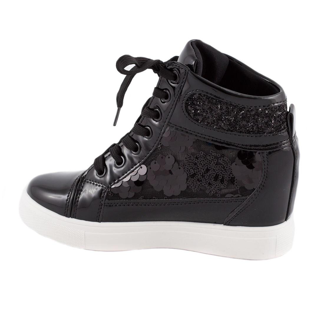 Sneakers de dama cu siret 5308-NEGRU
