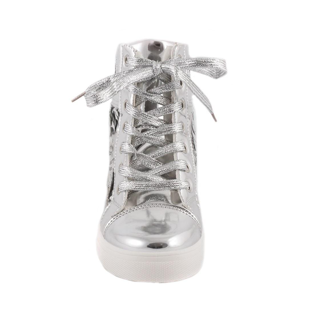 Sneakers de dama cu siret 5308-SILVER