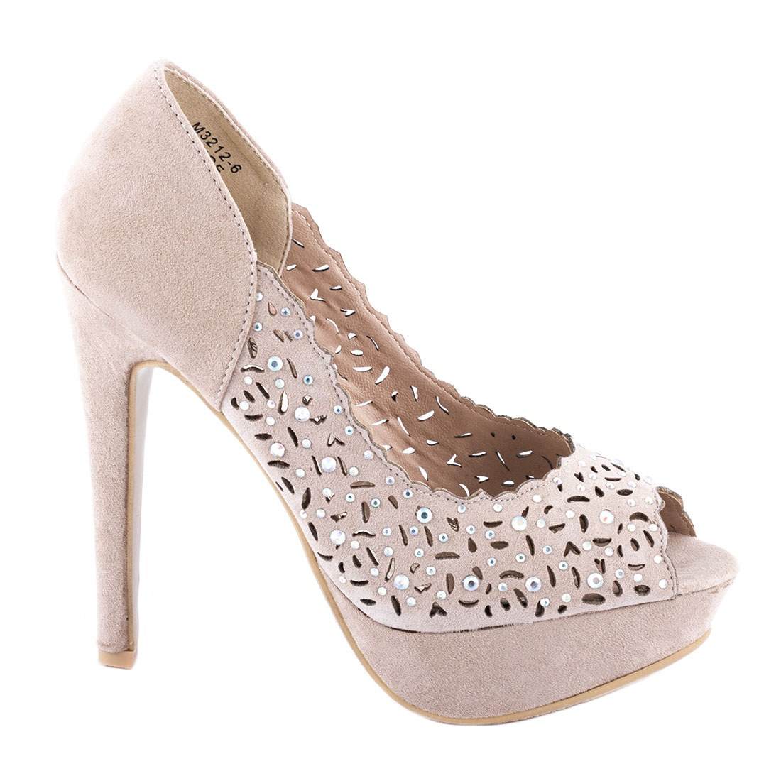 Pantofi dama cu toc si platforma M3212-6-BEJ