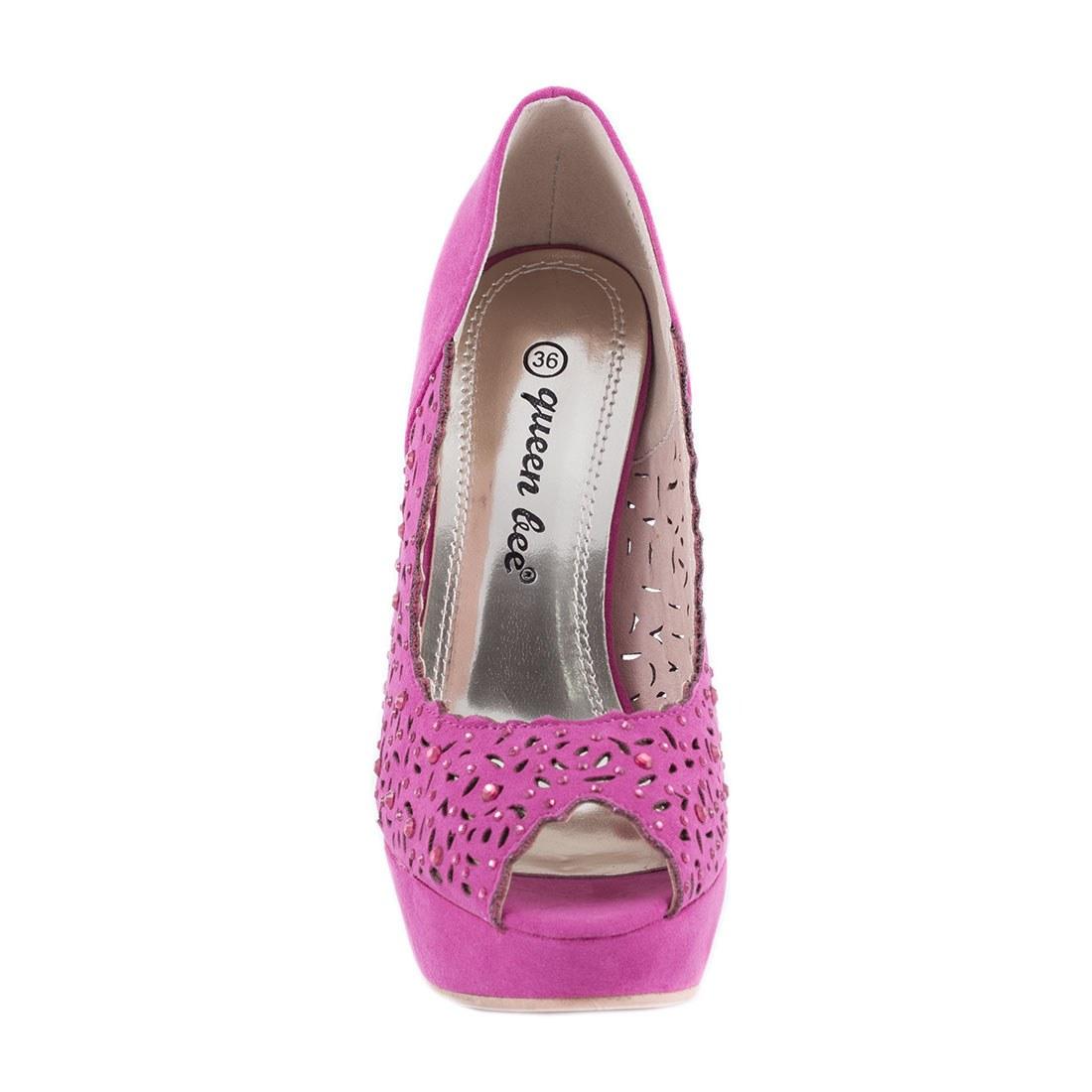 Pantofi de dama cu toc si platforma M3212-6-FUCSIA