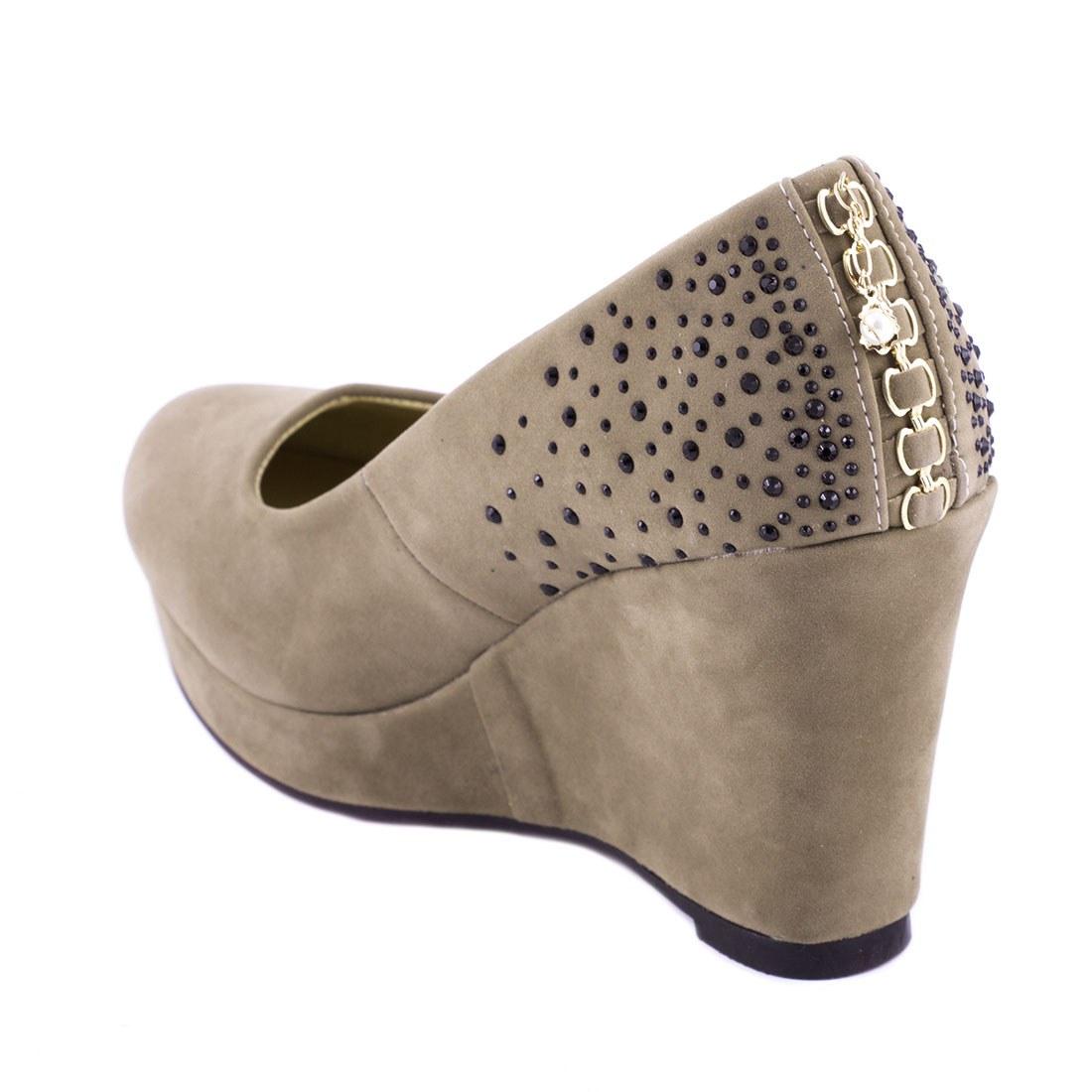 Pantofi de dama cu platforma D78-KAKI