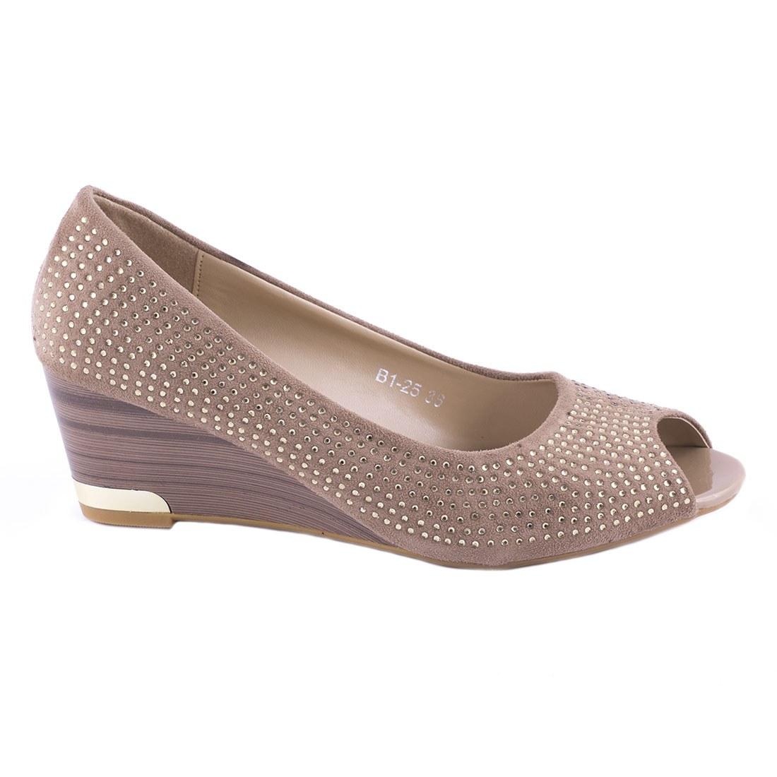 Pantofi de dama cu strasuri B1-25-KAKI