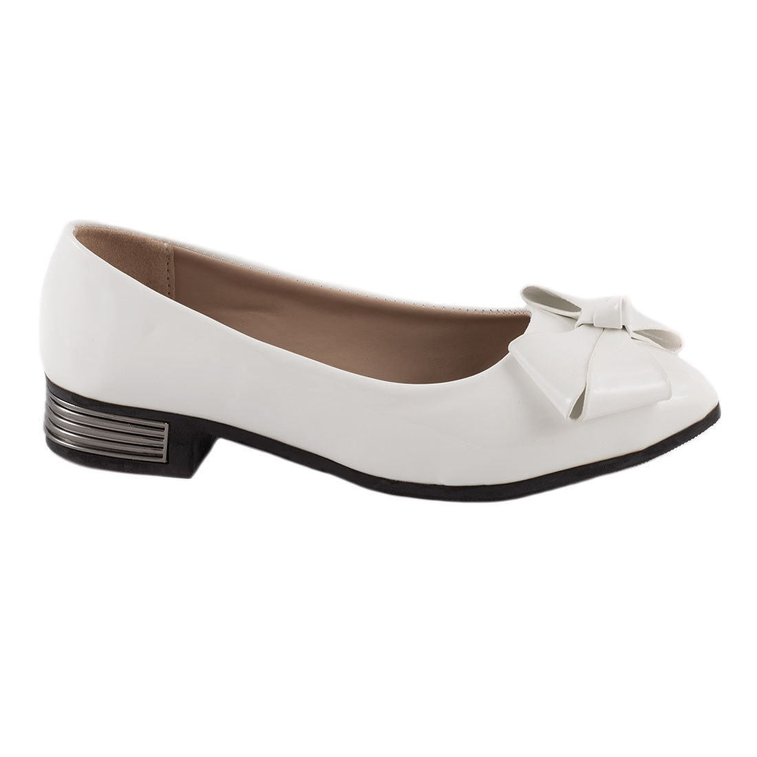 Pantofi dama cu fundita 536-ALB