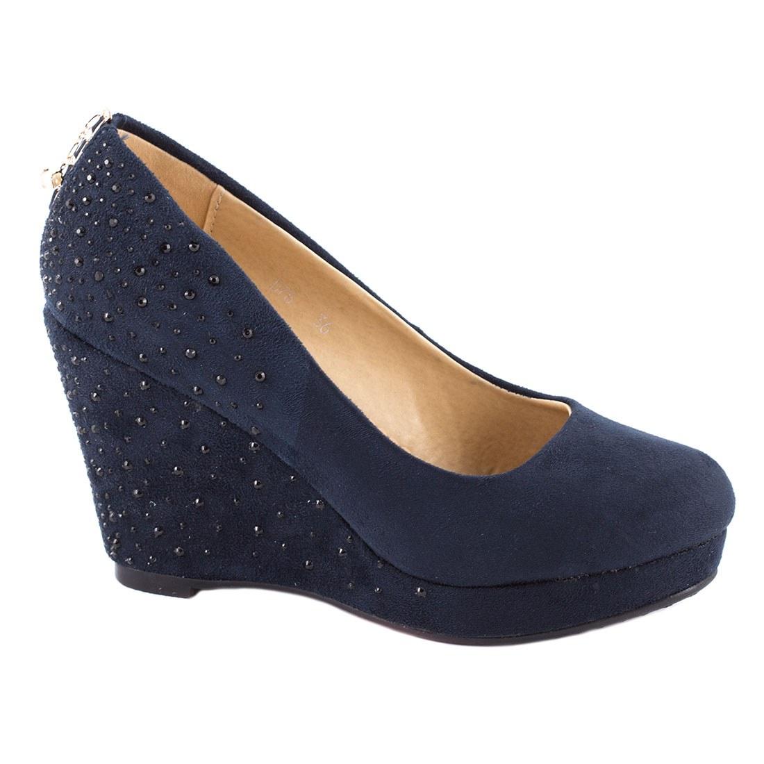 Pantofi dama cu platforma D76-DARK BLUE
