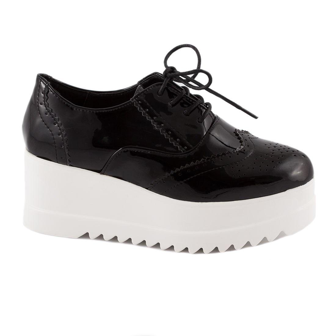 Sneakers de dama cu siret YT04-NEGRU