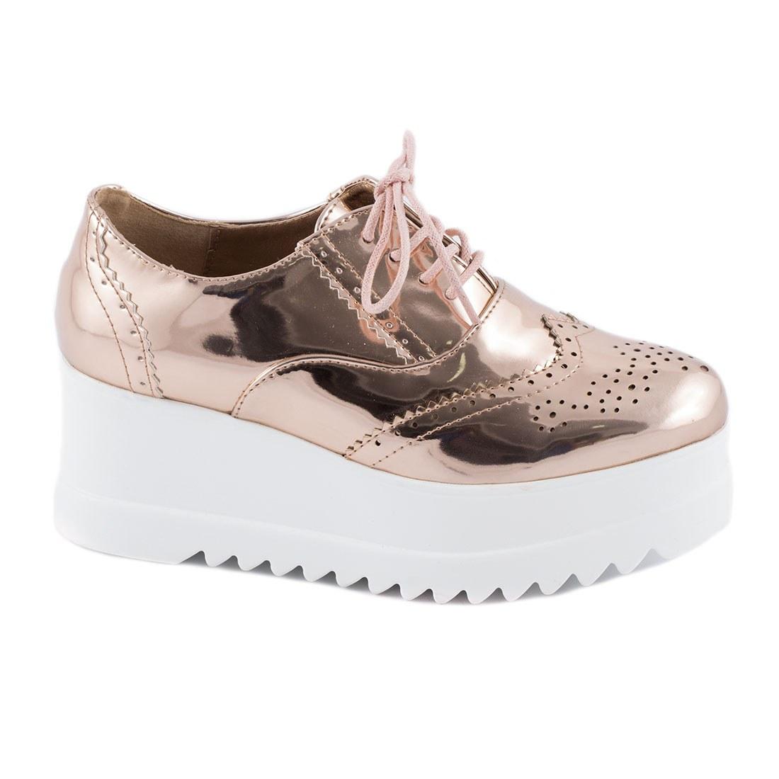 Sneakers de dama cu siret YT04-CHAMPAGNE