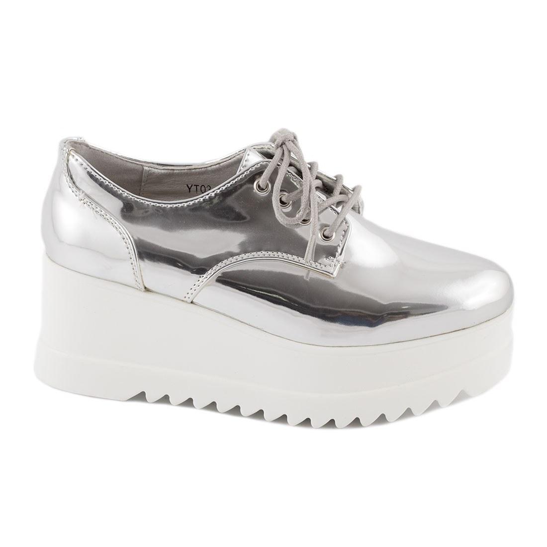 Sneakers dama cu platforma YT03-SILVER