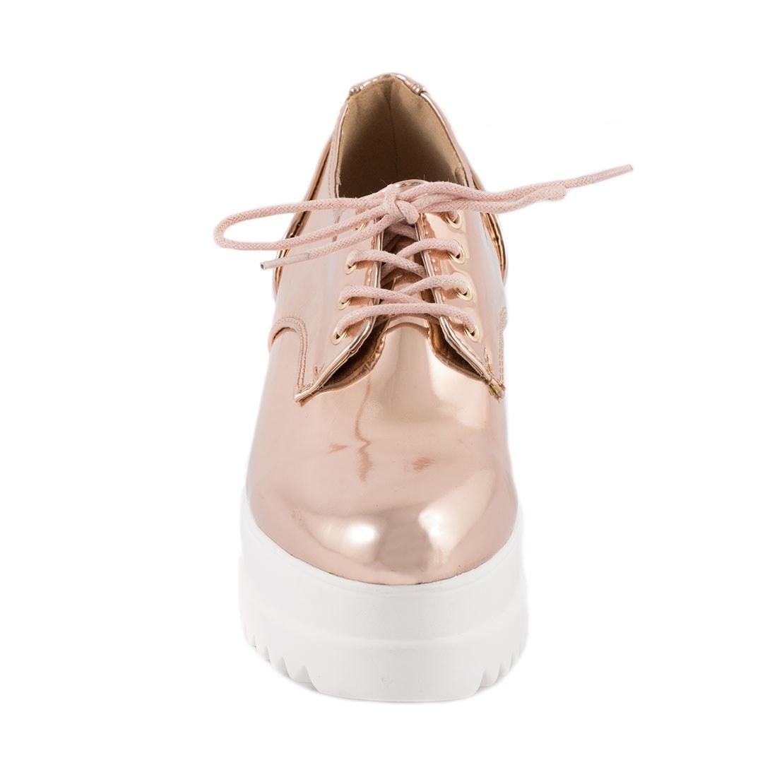 Sneakers dama cu platforma YT03-CHAMPAGNE
