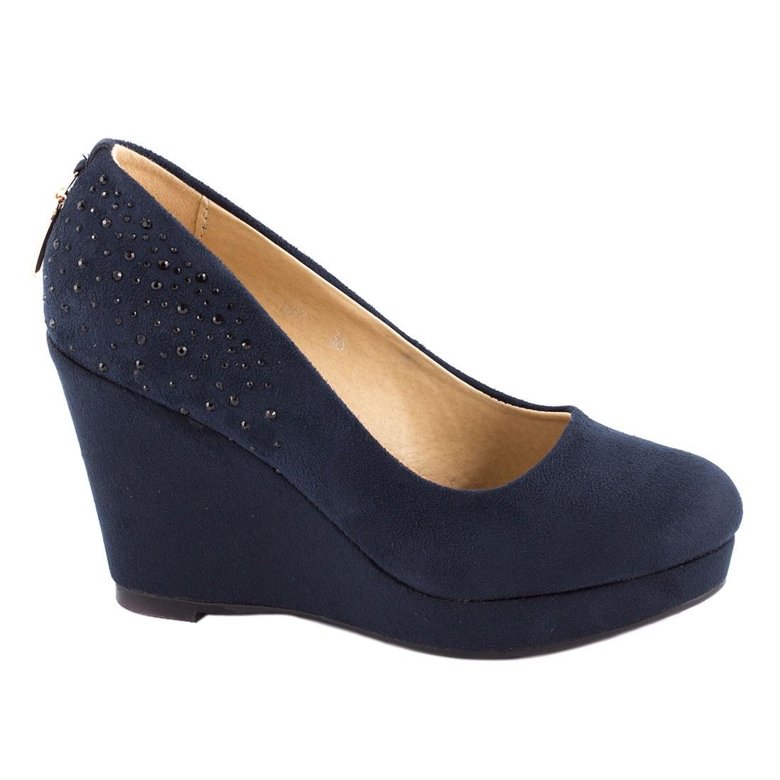 Pantofi de dama cu platforma D77-BLUE