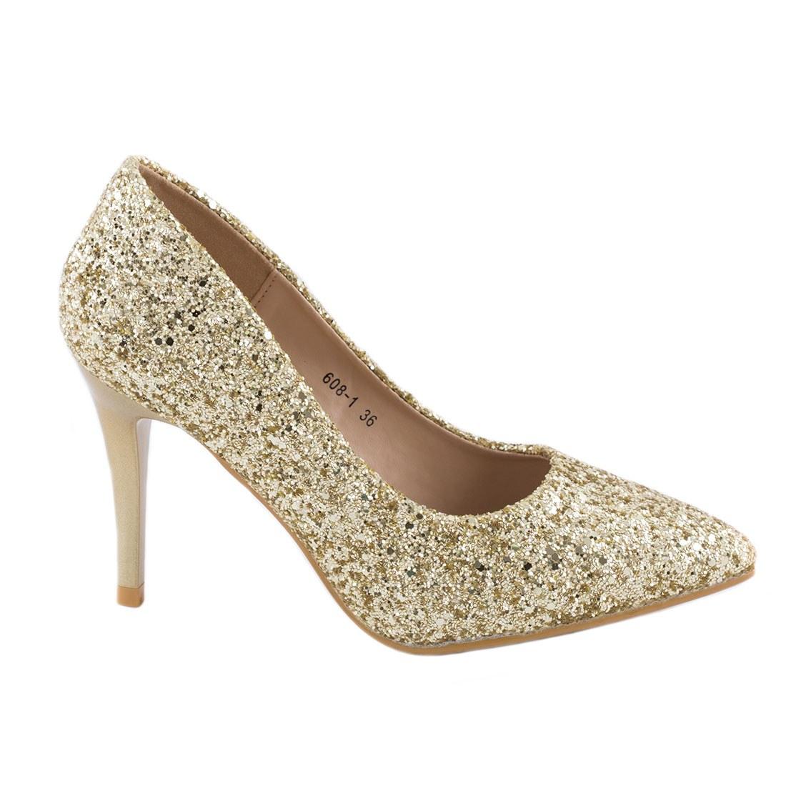 Pantofi de dama cu toc 608-1-GOLD