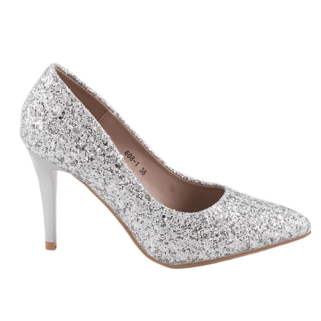 Pantofi de dama cu toc 608-1-SILVER