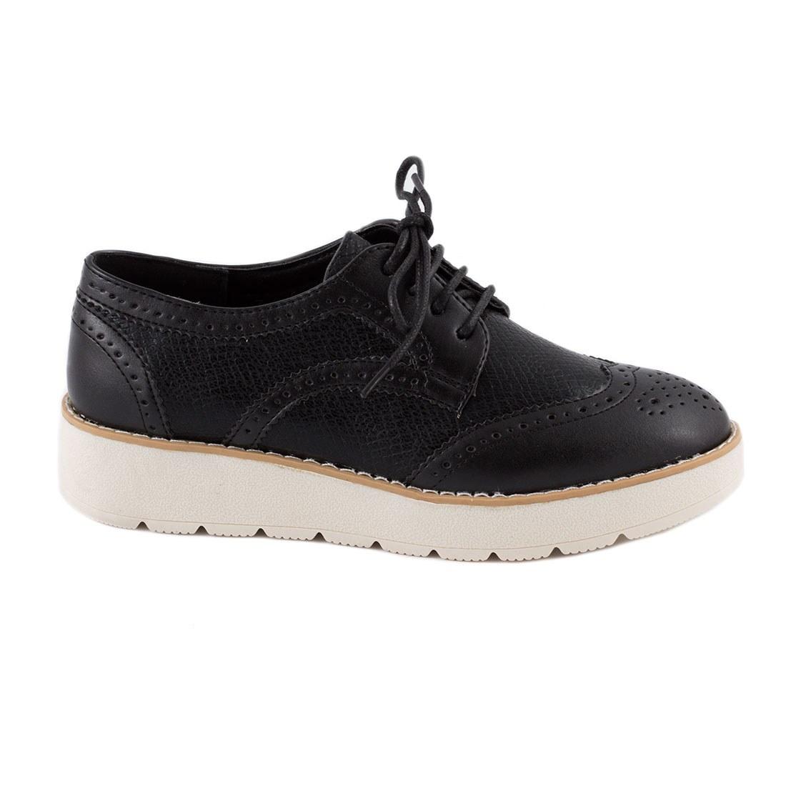 Pantofi dama cu siret 7-890-NEGRU