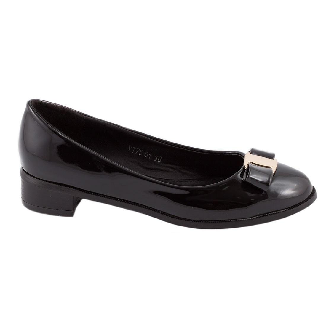Pantofi de dama cu fundita YT-75-NEGRU