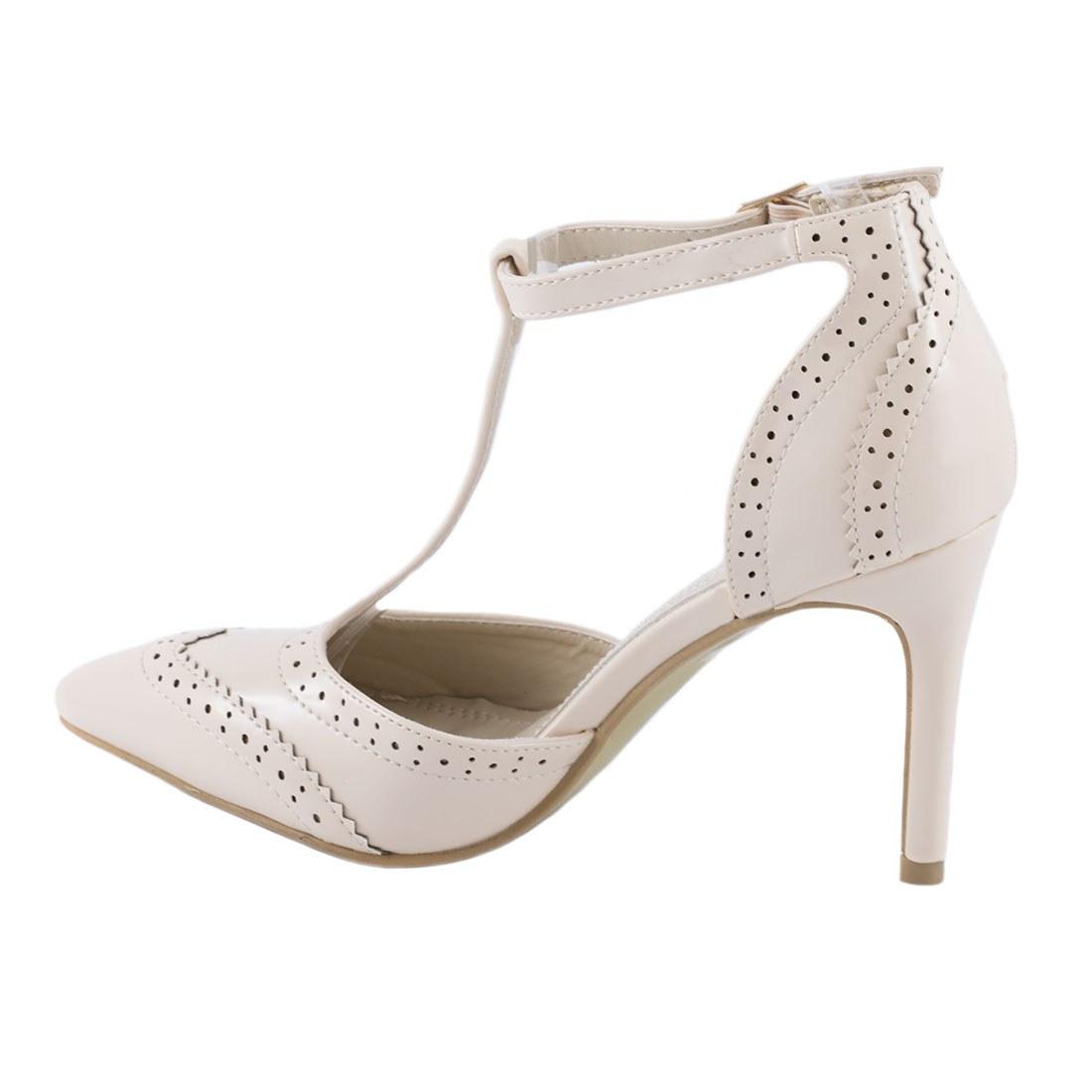 Pantofi de dama cu bareta 109-6-BEJ