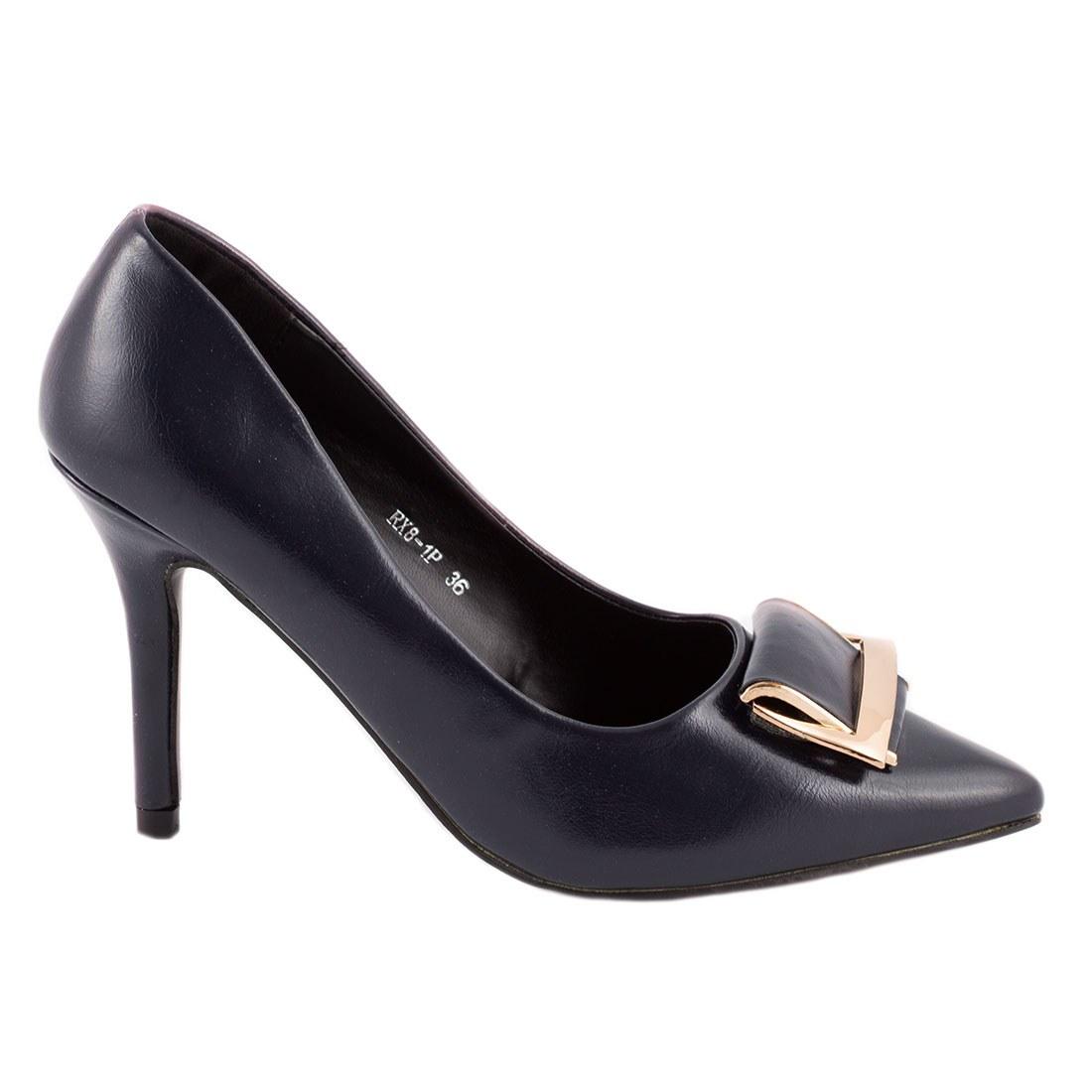 Pantofi de dama cu accesoriu auriu RX8-1P-NAVY