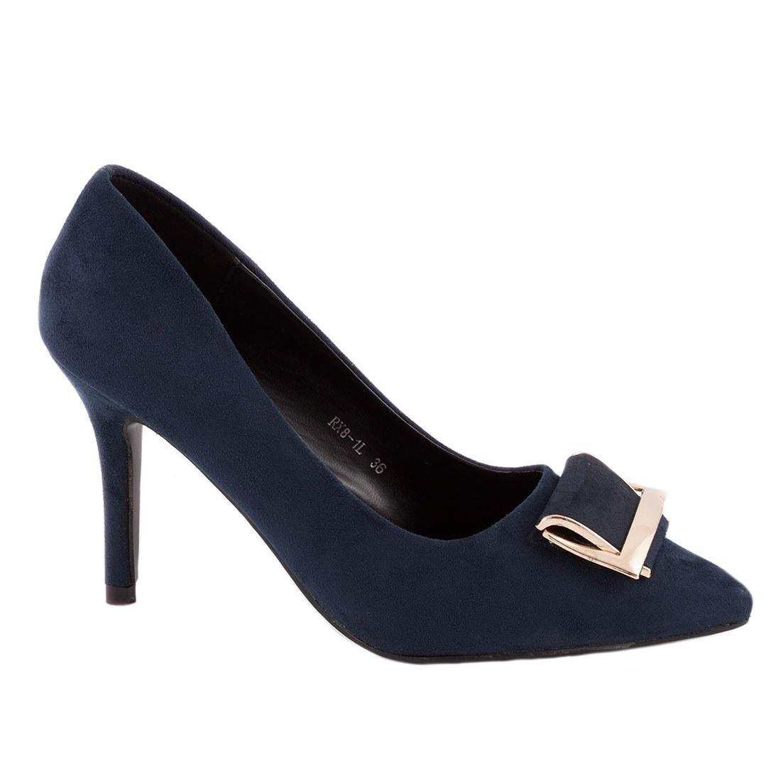 Pantofi dama cu accesoriu auriu RX8-1L-NAVY