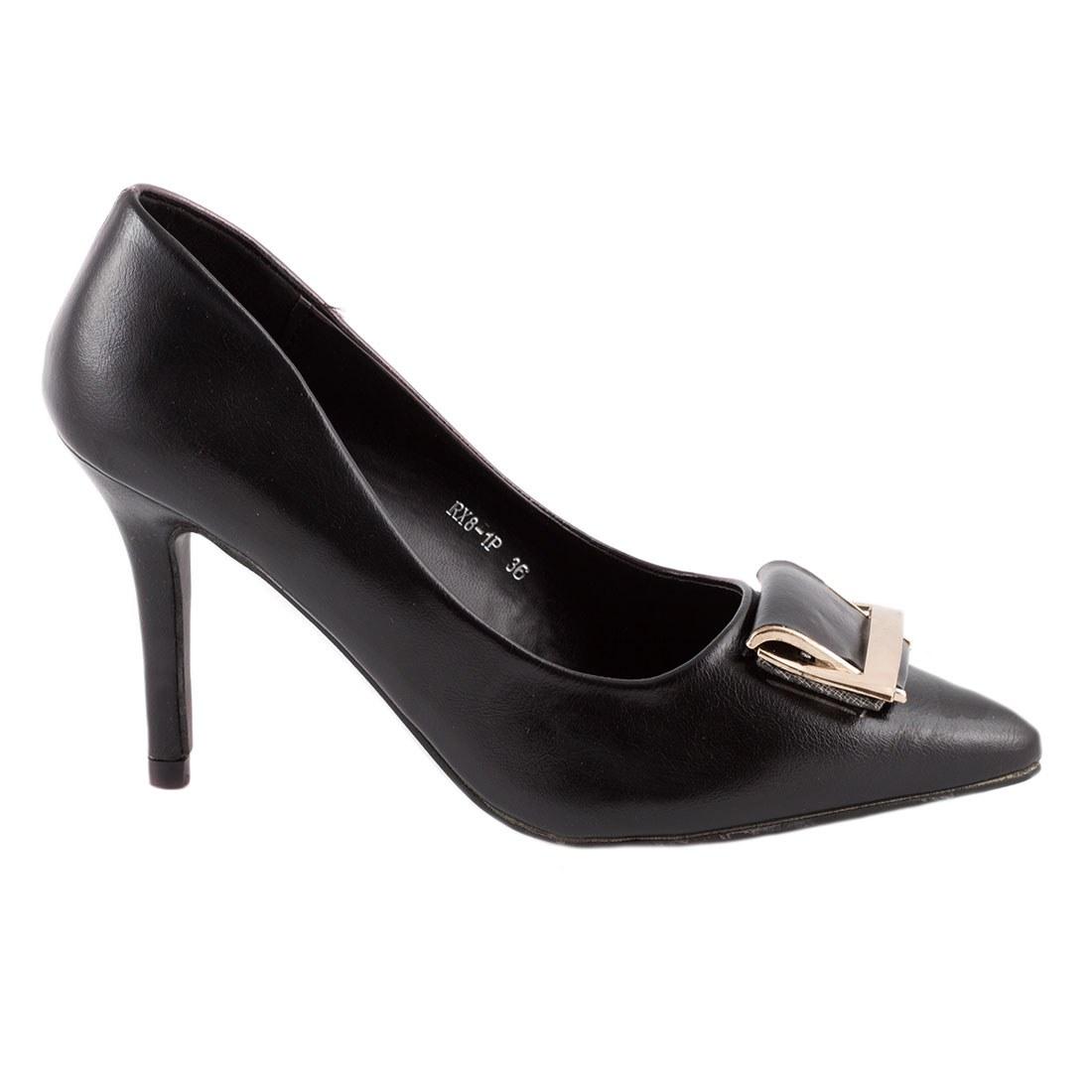 Pantofi de dama cu accesoriu auriu RX8-1P-NEGRU