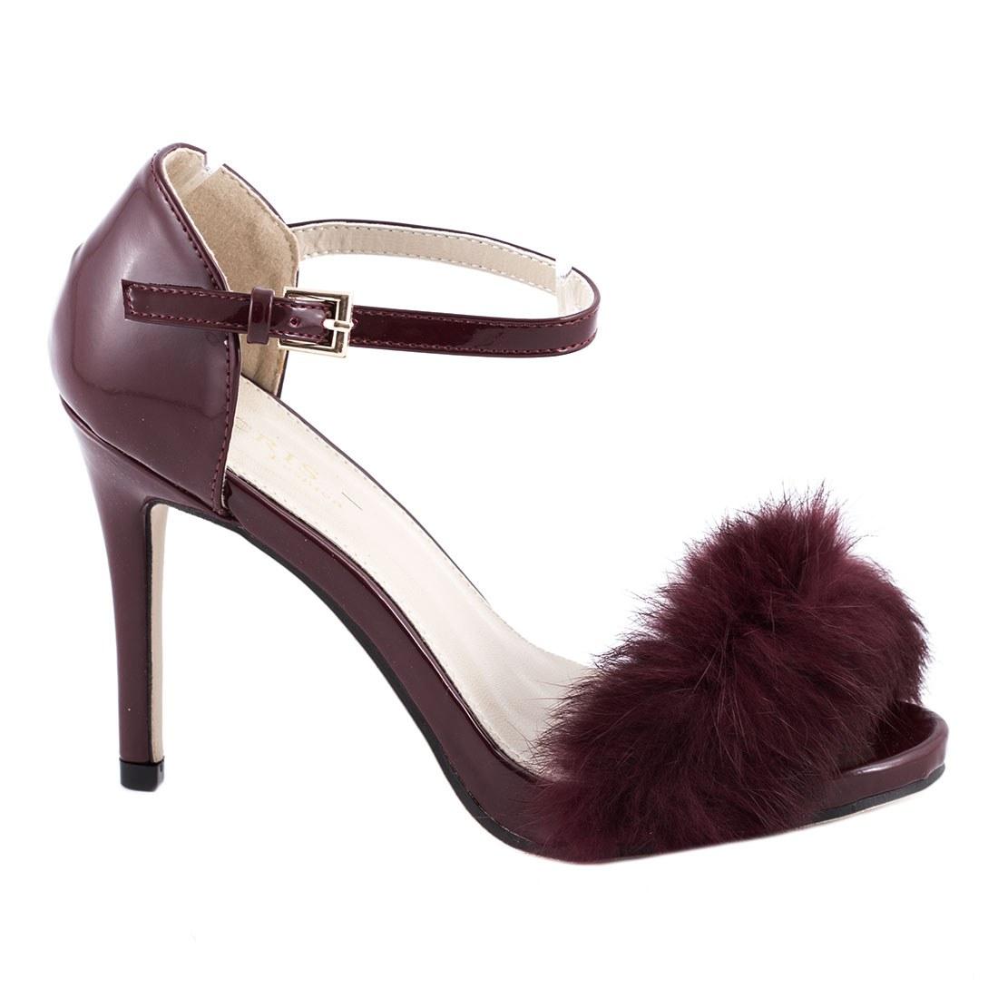 Sandale de dama cu toc 83201-BURGUNDY