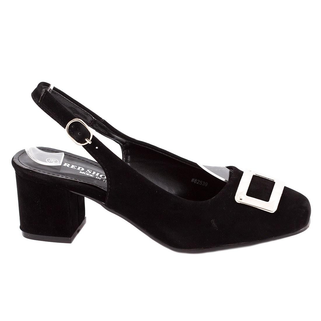 Sandale de dama cu accesoriu argintiu 82539-NEGRU-SS