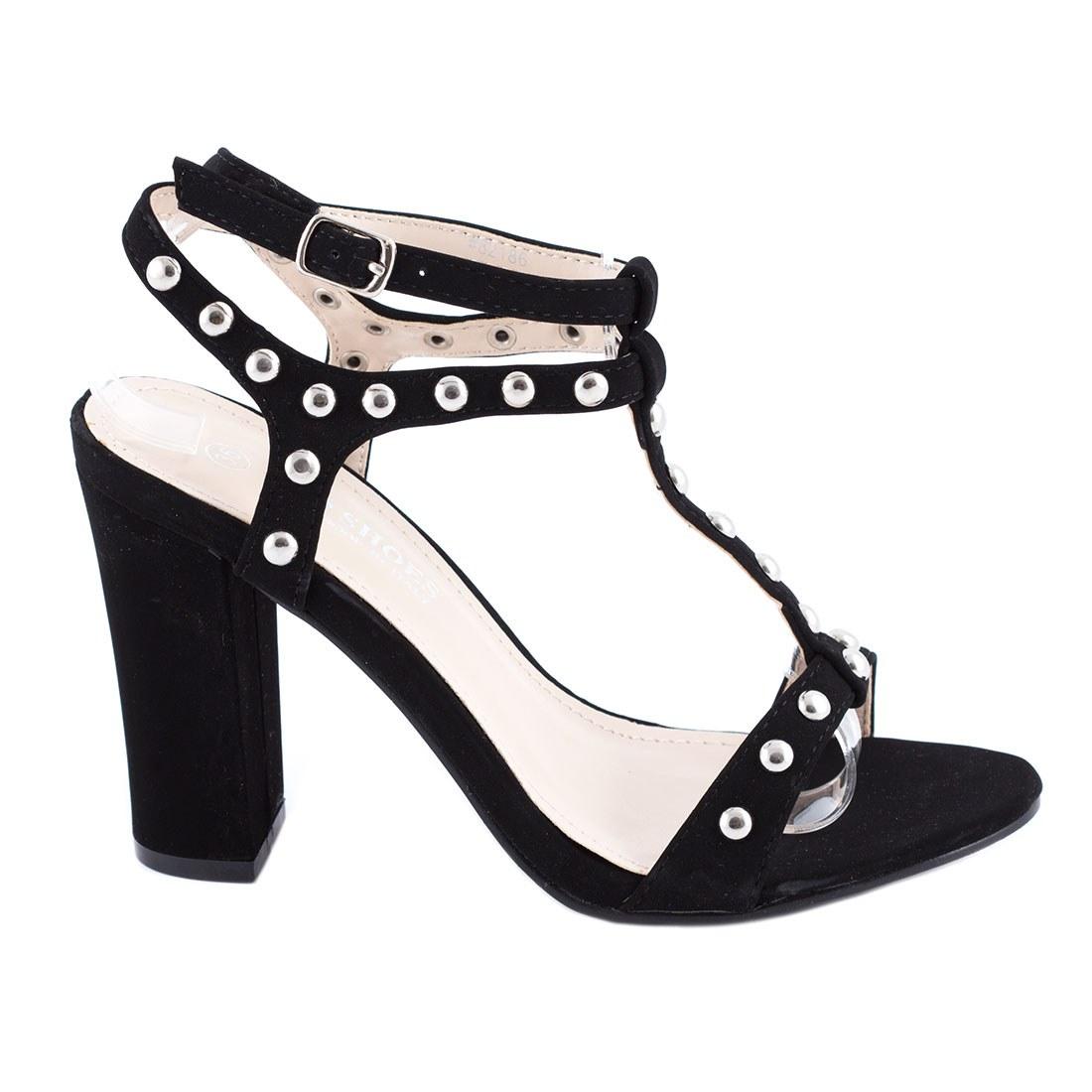 Sandale de dama cu capse 82186-NEGRU-L