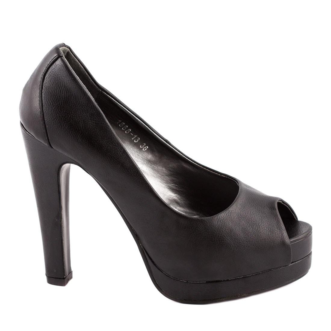 Pantofi de dama cu toc 1888-13-NEGRU-PU