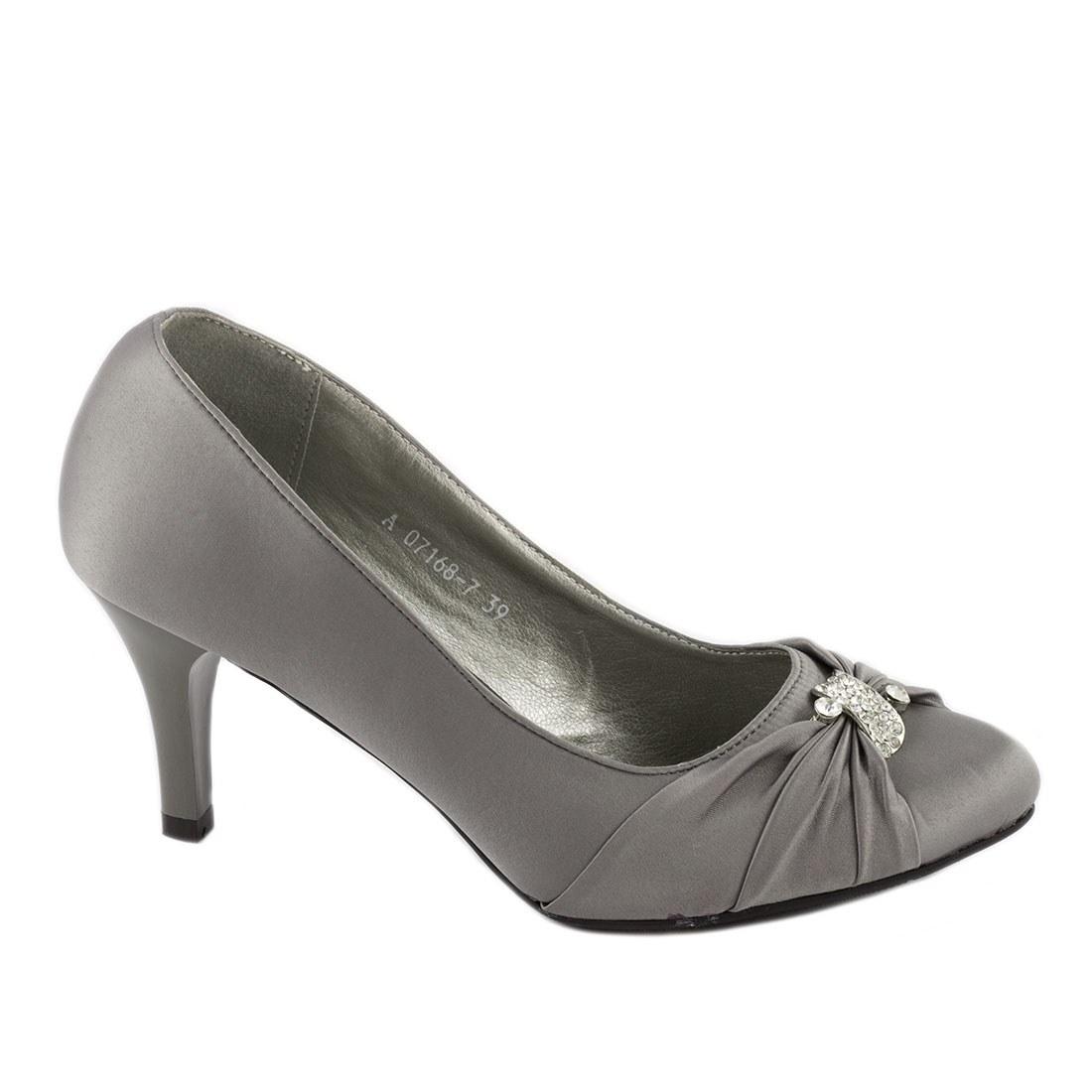 Pantofi dama cu toc A07168-7-GRI-OUTLET