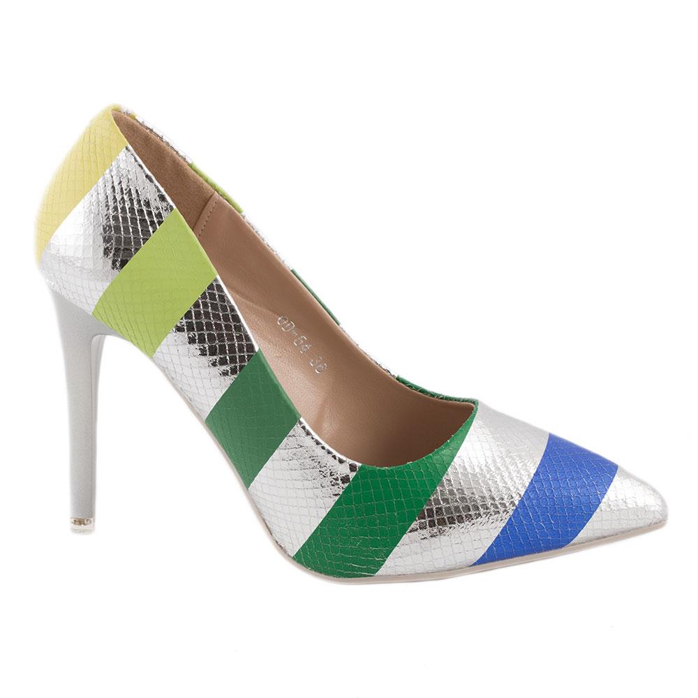 Pantofi dama cu toc OD-54-SILVER