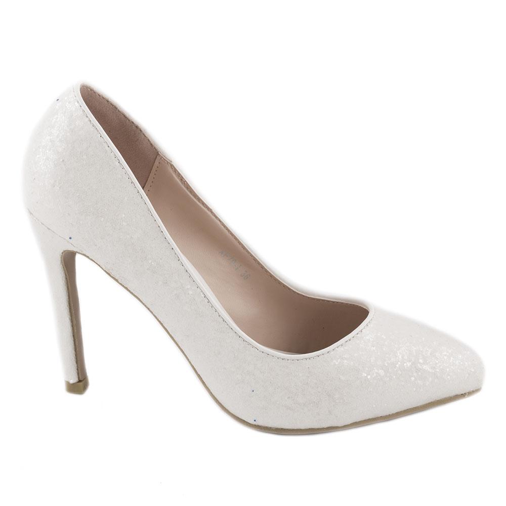 Pantofi dama eleganti cu glitter XF70-I-ALB